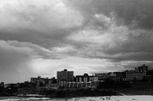 Bondi beach storm black and white