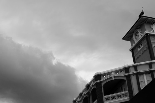 Bondi hotel storm clouds black and white