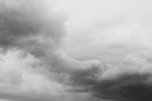 Bondi beach storm clouds black and white